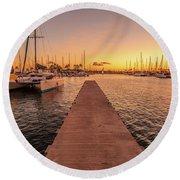 Ala Wai Harbor Sunset Round Beach Towel