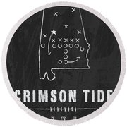 Alabama Crimson Tide / Ncaa College Football Art / Tuscaloosa Round Beach Towel by Damon Gray