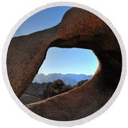 Alabama Hills Window Round Beach Towel