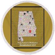 Alabama Loves Dogs Round Beach Towel