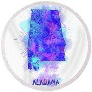 Alabama Map Watercolor 2 Round Beach Towel