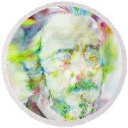 Alan Watts - Watercolor Portrait.3 Round Beach Towel