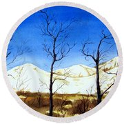 Alaska Blue Sky Day  Round Beach Towel