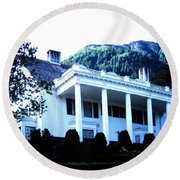 Alaska Governors Mansion Round Beach Towel