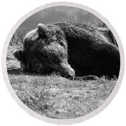 Alaska Grizzly - Do Not Disturb Grayscale Round Beach Towel