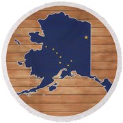 Alaska Map And Flag On Wood Round Beach Towel