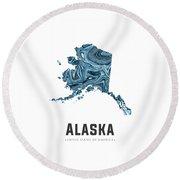 Alaska Map Art Abstract In Blue Round Beach Towel