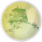 Alaska Map Square Cities Straight Pin Vintage Round Beach Towel