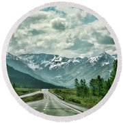 Alaska On The Road  Round Beach Towel