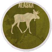 Alaska State Facts Minimalist Movie Poster Art Round Beach Towel