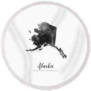 Alaska State Map Art - Grunge Silhouette Round Beach Towel