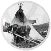 Alaska: Tepee, C1916 Round Beach Towel