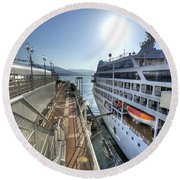 Alaskan Cruise Ship Berthed In Vancouver Round Beach Towel