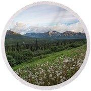 Alaskan Dandelions  Round Beach Towel