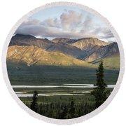 Alaskan Glacial Valley Round Beach Towel