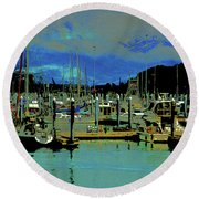 Alaskan Harbor 7 Round Beach Towel
