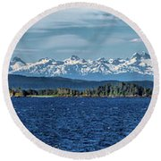 Alaskan Mountain Panorama Round Beach Towel