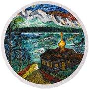 Alaskan Orthodox Church Round Beach Towel