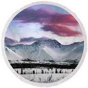 Alaskan Range At Sunset Round Beach Towel