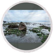 Alaskan Shoreline Round Beach Towel