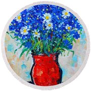 Albastrele Blue Flowers And Daisies Round Beach Towel by Ana Maria Edulescu