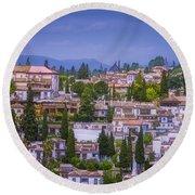 Albayzin View Granada Round Beach Towel