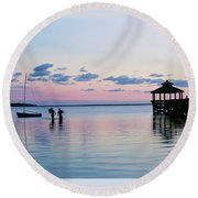 Outer Banks,nc,sunset Round Beach Towel