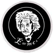 Albert Einstein Discoverer Of The Law Of Relativity Round Beach Towel