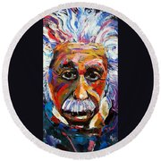 Albert Einstein Genius Round Beach Towel