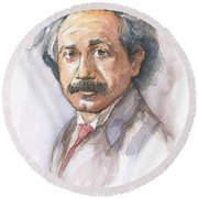 Albert Einstein Round Beach Towel by Olga Shvartsur
