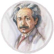 Albert Einstein Round Beach Towel by Olga Shvartsur