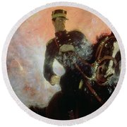 Albert I King Of The Belgians In The First World War Round Beach Towel by Ilya Efimovich Repin