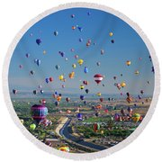 Albuquerque Balloon Fiesta Round Beach Towel