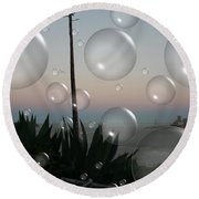 Alca Bubbles Round Beach Towel by Holly Ethan