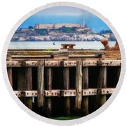 Alcatraz Beyond The Pier Round Beach Towel