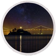 Alcatraz Island Under The Starry Night Sky Round Beach Towel