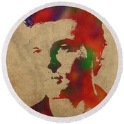 Alden Ehrenreich Watercolor Portrait Round Beach Towel