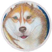 Alek The Siberian Husky Round Beach Towel