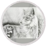 Alert Fox  Round Beach Towel