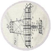 Alexander Graham Bell Airplane Patent Print, Plane Patent Blueprint Round Beach Towel