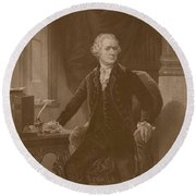 Alexander Hamilton Sitting At His Desk Round Beach Towel by War Is Hell Store