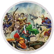 Alexander The Great At The Battle Of Issus  Round Beach Towel