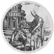 Alexander The Great Kneeling Before The High Priest Of Ammon Round Beach Towel