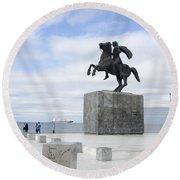 Alexander The Great, Thessaloniki, Greece Round Beach Towel