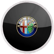 Alfa Romeo - 3 D Badge On Black Round Beach Towel