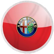 Alfa Romeo - 3d Badge On Red Round Beach Towel