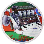 Alfa Romeo Indy Engine Round Beach Towel