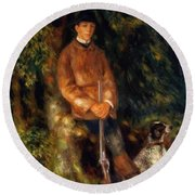 Alfred Berard And His Dog 1881 Round Beach Towel