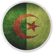 Algeria Distressed Flag Dehner Round Beach Towel