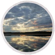 Algonquin Lake Sunset Round Beach Towel